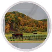 Rural Beauty In Ohio  Round Beach Towel