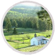 Rural Church In The Valley Round Beach Towel