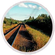 Rural Country Side Train Tracks Round Beach Towel