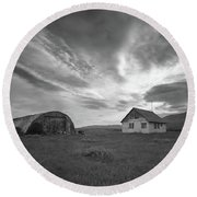 Rural Decay In Iceland Bw Round Beach Towel