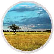 Rural Idyll Poetry Round Beach Towel
