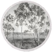 Rural Landscape Pencil Sketch Round Beach Towel