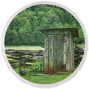 Round Beach Towel featuring the photograph Rural Outhouse by Nikolyn McDonald