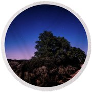 Round Beach Towel featuring the photograph Rural Starlit Road by T Brian Jones