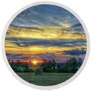 Rural Sunset Round Beach Towel by Lewis Mann