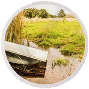Rural Tasmania Farm Scene Round Beach Towel