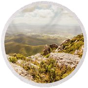 Rural Town Valley Round Beach Towel