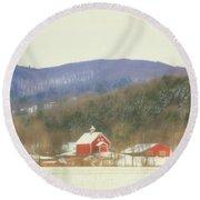 Round Beach Towel featuring the digital art Rural Vermont by Sharon Batdorf