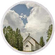 Rural White Church With A Cross Round Beach Towel