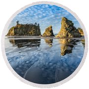Ruby Beach Reflection Round Beach Towel