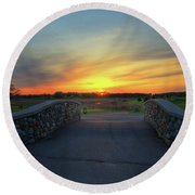 Rush Creek Golf Course The Bridge To Sunset Round Beach Towel
