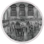Rush Hour Grand Central St Round Beach Towel