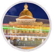 Rush Hour In Front Of The Massachusetts Statehouse Round Beach Towel