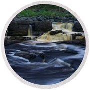 Round Beach Towel featuring the photograph Rushing By The Falls by Heidi Hermes