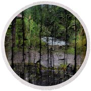 Rushing Cascade In The Andes - On Bark Round Beach Towel
