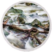 Rushing High Waters  Round Beach Towel