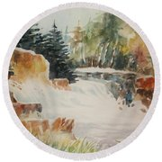Round Beach Towel featuring the painting Rushing Streambed by Al Brown