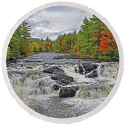 Round Beach Towel featuring the photograph Rushing Towards Fall by Glenn Gordon
