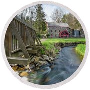 Rushing Water At The Grist Mill Round Beach Towel