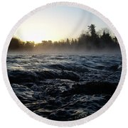 Round Beach Towel featuring the photograph Rushing Water In Missississippi River by Kent Lorentzen