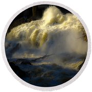 Rushing Water Round Beach Towel by Sherman Perry
