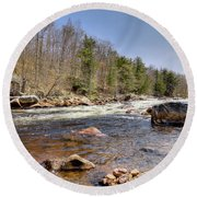 Round Beach Towel featuring the photograph Rushing Waters Of The Moose River by David Patterson