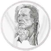 Russell Means Round Beach Towel