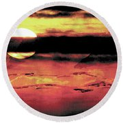 Round Beach Towel featuring the painting Russet Sunset by Paula Ayers