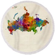 Russia Watercolor Map Round Beach Towel