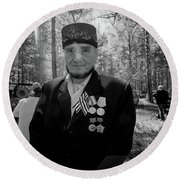 Round Beach Towel featuring the photograph Russian Afghanistan War Veteran by John Williams