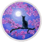 Russian Blue Cat In Pink Flowers Round Beach Towel
