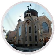 Russian Orthodox Cathedral Of The Transfiguration Of Our Lord Round Beach Towel