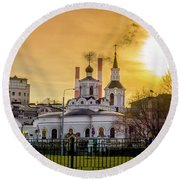 Round Beach Towel featuring the photograph Russian Ortodox Church In Moscow, Russia by Alexey Stiop