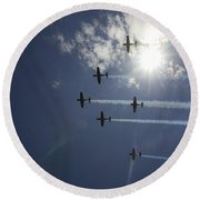 Round Beach Towel featuring the photograph Russian Roolettes And Sydney Sun by Miroslava Jurcik
