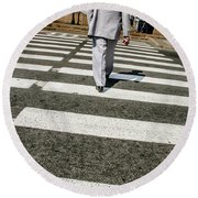 Russian Street Crossing Round Beach Towel