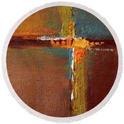 Round Beach Towel featuring the painting Rust Abstract Painting by Nancy Merkle