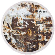 Rust And Torn Paper Posters Round Beach Towel by John Williams
