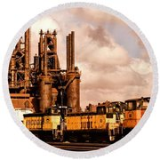 Rust In Peace Round Beach Towel