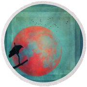 Rust Moon Round Beach Towel