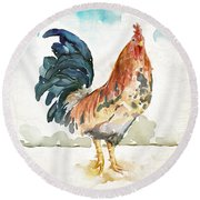 Rust Rooster Round Beach Towel by Mauro DeVereaux