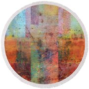 Round Beach Towel featuring the painting Rust Study 1.0 by Michelle Calkins