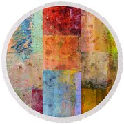 Round Beach Towel featuring the painting Rust Study 2.0 by Michelle Calkins