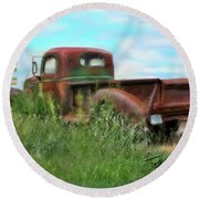 Rusted Not Retired Round Beach Towel by Colleen Taylor