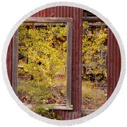 Round Beach Towel featuring the photograph Rustic Autumn by Leland D Howard