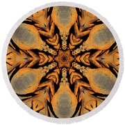 Rustic Barbed Flower Star Mandala Round Beach Towel by Wernher Krutein