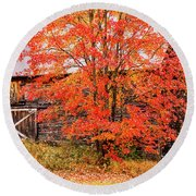 Round Beach Towel featuring the photograph Rustic Barn In Fall Colors by Jeff Folger