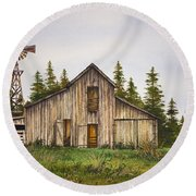 Round Beach Towel featuring the painting Rustic Barn by James Williamson