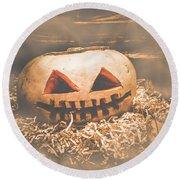 Rustic Barn Pumpkin Head In Horror Fog Round Beach Towel
