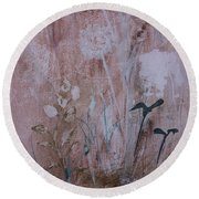 Round Beach Towel featuring the painting Rustic Breeze by Robin Maria Pedrero