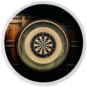 Rustic British Dartboard Round Beach Towel